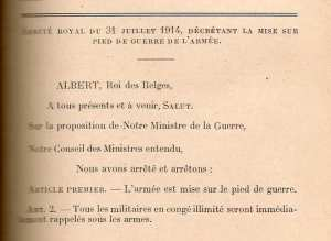 Decreto de movilización firmado por Alberto I.