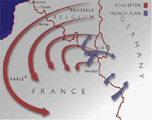 Mapa Schlieffen Plan y Plan XVII.