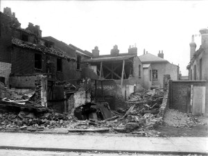 Zeppelin air raid damage to houses in Botolph Road, Bow, Sept 23 1916