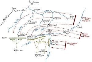 Avance alemán en Bélgica agosto 1914.