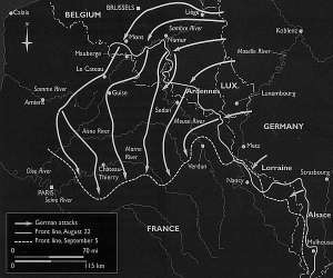 La Gran Retirada. La línea continua representa el frente el 22 de agosto; la discontinua el frente el 5 de septiembre; las flechas el avance alemán.
