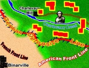 Mapa de la bolsa en la que fue aislada el Batallón Perdido.