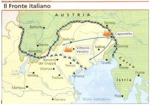 Mapa de la Batalla de Caporetto.
