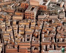 Vista aérea de la Roma Imperial con sus insulae.