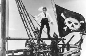El actor Errol Flyn en una de sus caracterizaciones como pirata.