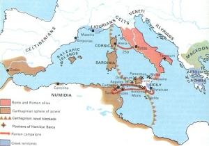 Cartago y Roma se disputan la supremacía del Mediterráneo en la Primera Guerra Púnica.