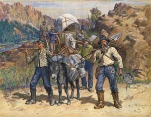 Buscadores de oro en camino.