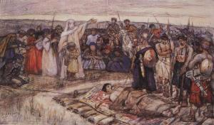 Olga recibe el cadáver de su esposo. (Boceto de Vasily Surikov).