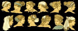 Peinados romanos de diferentes épocas.