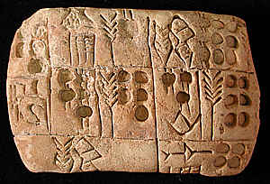 tableta con escritura cuneiforme - Historia de los impuestos. Como robar al pueblo