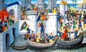 La toma de Constantinopla por los cruzados.