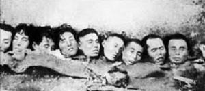 Cabezas de hombres decapitados por los japoneses en Nanking.